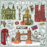 London winter landmarks set.Colored Doodle sketchy Royalty Free Stock Images