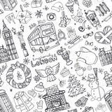 London winter seamless pattern.Christmas Doodles.Black Royalty Free Stock Images