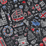 London winter seamless pattern.Christmas Doodles.Chalk Royalty Free Stock Image