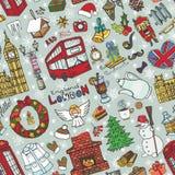 London winter seamless pattern.Christmas Doodles Stock Photos