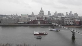 London Winter UK. Millennium Bridge and Thames River at Winter Day in London Timelapse Video stock footage