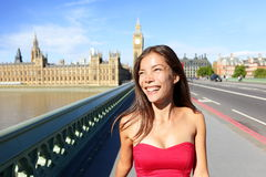 London woman happy in summer Stock Photo