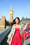 London woman tourist shopping bag near Big Ben Stock Photo