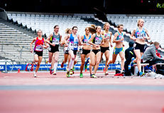 London: women running at the olympic stadium. Women's 3000m at the London prepares series at the Oympic park in London on May 6, 2012. The London Prepares series Royalty Free Stock Photo
