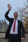 London: World's Tallest Man and Shortest Man meet on Guinness World Record Stock Images