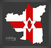 Londonderry Northern Ireland map with Ulster banner Stock Images