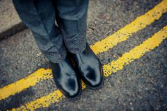 Londoner on immaculate shoes Stock Photography