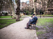 Londoner sits on bench reading in Russell Square,  Royalty Free Stock Photography