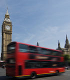 Londons Big Ben and red bus Royalty Free Stock Images