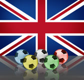 Londons olympic. British flag and footballs (olympic Royalty Free Stock Photography