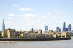 Londons stadshorisont, som beskådad från Canary Wharf Fotografering för Bildbyråer