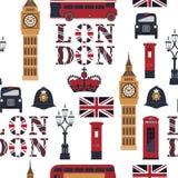 Londons-Symbole: Taxi, Briefkasten, Telefon, Big Ben, doppelter Decker Bus, Lampe lizenzfreie abbildung