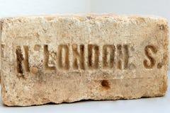 从LondonThe题字的老砖LondonAncient石头在 免版税库存照片