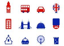 Londra & icone ed elementi inglesi di disegno. Immagini Stock