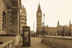 Londra d'annata in bianco e nero Fotografia Stock Libera da Diritti
