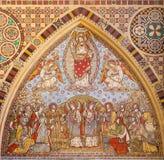 LONDRA, GRAN BRETAGNA - 15 SETTEMBRE 2017: Il mosaico piastrellato dell'ascensione del signore in chiesa tutti i san da Matthew D fotografia stock