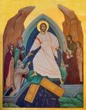 Londra - l'icona di ` Harrrownig di inferno - Descensus Christi e ` latino di infernso in st Andrew Holborn della chiesa fotografie stock