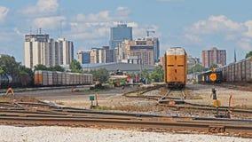 Londra, orizzonte di Ontario che sembra ad ovest dalle iarde della ferrovia Fotografia Stock Libera da Diritti