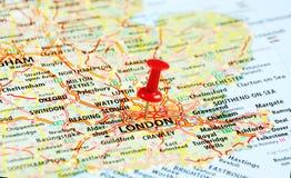 Londra, perno BRITANNICO della mappa Fotografia Stock