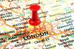 Londra, perno BRITANNICO della mappa Fotografia Stock Libera da Diritti