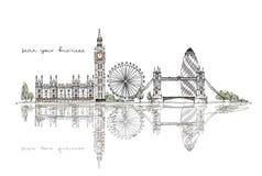 Londra, raccolta di schizzo Immagini Stock Libere da Diritti