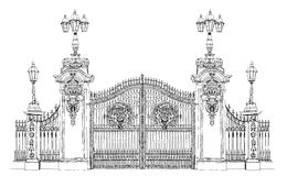 Londra, raccolta di schizzo, portone di Buckingham Palace Immagini Stock