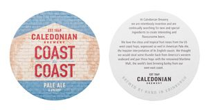 LONDRA, REGNO UNITO - 1° MARZO 2018: Sottobicchiere originale caledoniano del beermat della birra chiara della fabbrica di birra  immagini stock