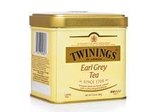 LONDRA, REGNO UNITO - 1° NOVEMBRE 2018: Contenitore d'acciaio di barattolo del tè sciolto grigio del conte di Twinings su fondo b fotografie stock libere da diritti