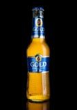 LONDRA, REGNO UNITO - 2 GENNAIO 2017: Bottiglia fredda del ` s Lager Beer Foster su fondo nero immagine stock libera da diritti