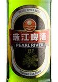 LONDRA, REGNO UNITO - 24 SETTEMBRE 2017: Etichetta della bottiglia del fiume delle Perle Lager Beer su bianco immagine stock