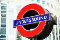 Londra \ 'segno sotterraneo di s Fotografia Stock
