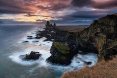 Londrangar cliffs at snaefellsnes peninsula. In Iceland royalty free stock image