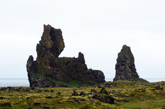 Londrangar rock on Sneafellsnes in Iceland. Londrangar rock on the coast of Sneafellsnes in Iceland Stock Images