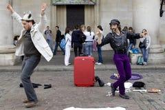 Londres - 11 de septiembre. Actor de la calle en ensenada Foto de archivo