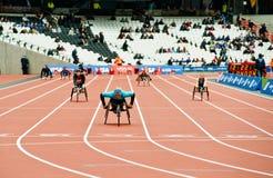 Londres 2012: atletas en el sillón de ruedas Imagenes de archivo