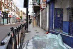 LONDRES - 9 DE AGOSTO: El área de la ensambladura de Clapham es sacke Fotografía de archivo libre de regalías