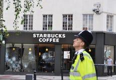 LONDRES - AGOSTO 09: A área da junção de Clapham é sacke Fotografia de Stock Royalty Free