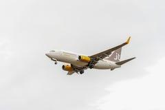 LONDRES, ANGLETERRE - 22 AOÛT 2016 : Lignes aériennes Boeing 737 d'OY-JTT Jettime débarquant dans l'aéroport de Heathrow, Londres Images libres de droits