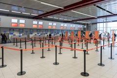 LONDRES, ANGLETERRE - 29 SEPTEMBRE 2017 : L'aéroport de Luton signent l'intérieur de secteur Lignes d'Easyjet Londres, Angleterre Image stock