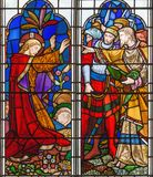 Londres - arrêter de Jésus dans le jardin de Gethsemane sur le verre souillé dans le St Michael Cornhill d'église photographie stock libre de droits