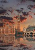 Londres - ben grande y casas del parlamento, Reino Unido imagenes de archivo