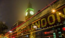 Londres, Big Ben, autobús en el movimiento Foto de archivo libre de regalías