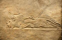 Londres British Museum Alivio del palacio de Assurbanipal en Nínive, Assyria de la caza Foto de archivo