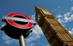 Londres central Ben y subterráneo grandes Imágenes de archivo libres de regalías