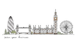 Londres, collection de croquis Photographie stock libre de droits