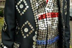 Londres : détail nacré de costume de roi Photographie stock libre de droits