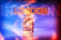 Londres de néon borrada assina sobre Ben Clock Tower grande ilustração do vetor