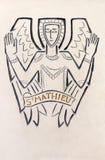 Londres - detalhe de St Matthew moderno o símbolo do evangelista cinzelado na pedra na igreja Notre Dame de la France Imagem de Stock Royalty Free