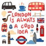 Londres es siempre una buena idea Letras y símbolos dibujados mano de Londres libre illustration