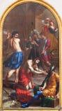 LONDRES, GRAN BRETAÑA - 17 DE SEPTIEMBRE DE 2017: La pintura de la degollación de St John el Bautista en iglesia del St Peter Ita foto de archivo
